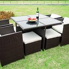 Rattan Patio Table And Chairs Heredeco 9 Piece Modern Indoor Outdoor All Weather Wicker Rattan