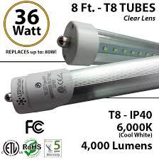 t8 led tube light 8ft tube light t8 led 36w 4000lm 6000k clear lens ul ledradiant