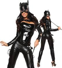 cat costume womens masked faux leather cat costume black