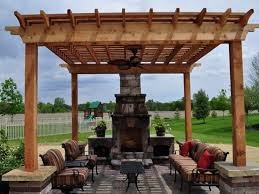 modest decoration pergola with fireplace patio and