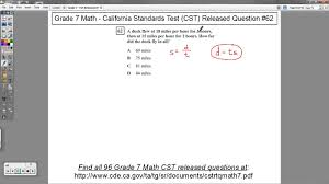 grade 7 math cst released question 62 speed distance and