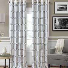 drapes geometric pattern simple curtains in blue and grey color