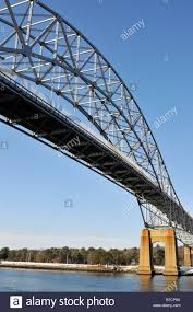 bridge over cape cod canal showing steel girders and trusses and
