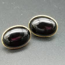 black onyx stud earrings oval black onyx 14k gold vintage stud earrings ships free