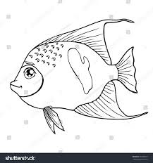 fish arabian angel black contour on stock vector 563956819