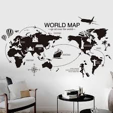 sticker mural chambre noir carte du monde sticker mural chambre bureau artistique fond