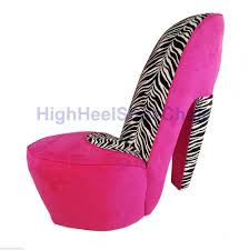 zebra swivel chair full size pink u0026 zebra high heel shoe chair diva shoechair