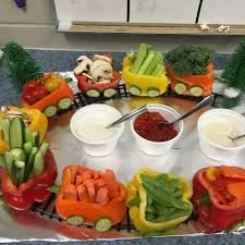 model train vegetable platter this is cute for a birthday party