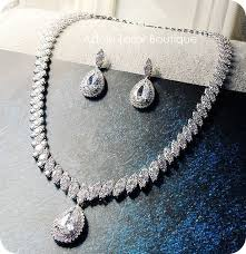 zirconia necklace set images Elegant wedding jewelry set bridal jewelry set natural zircon jpg