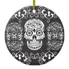 black and white sugar skull ornaments keepsake ornaments zazzle