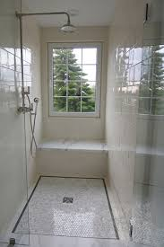 cabochon tile bathrooms glass front walk in shower window in