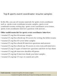 event coordinator resumes top 8 sports event coordinator resume sles 1 638 jpg cb 1431829316