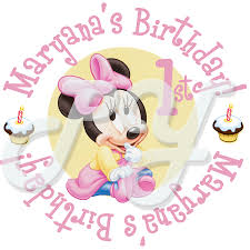 minnie mouse 1st personalized birthday stickers