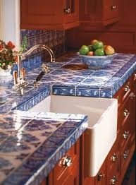 blue countertop kitchen ideas ornate blue tile countertop with white sink and