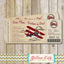 vintage airplane boarding pass birthday invitation vintage