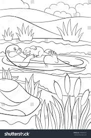 coloring pages mother otter swims her stock vector 473909551