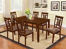 cherry wood dining room table amazon com the room style 7 piece cherry finish solid wood dining