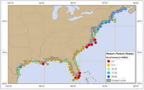 Map Of The United States East Coast by Tropical Cyclone Climatology