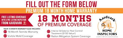 Home Warranty by Aardvark Inspections 18 Month Home Warranty
