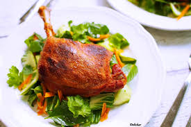duck in cuisine duck confit with salad delishar singapore cooking