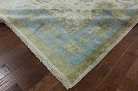 Area Rugs Blue And Green New 9 X12 Ivory Baby Blue Border Oushak Knotted Wool Area