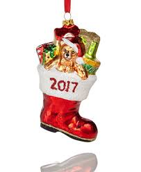 glass 2017 filled santa boot ornament created