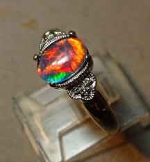 opal engagement rings antique style opal engagement ring with diamond accents