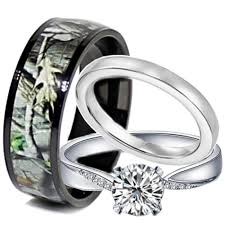 camo wedding rings his and hers cheap wedding sets kingswayjewelry