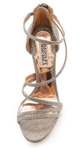 badgley mischka landmark strappy sandals platino in metallic lyst