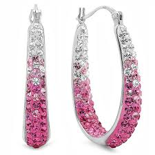 pink earrings sterling silver pink and white hoop earrings made with