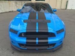 Blue Mustang Black Stripes 14 Gt500 Coupe Grabber Blue Black Stripes Recaros Glass Roof