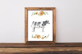 farmhouse wall art cow painting cow art shabby chic wall art