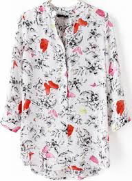 print blouses white stand collar floral butterfly print blouse abaday com