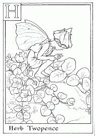 print letter herb twopence flower fairy coloring