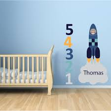 space wall stickers enchanted interiors personalised launching rocket nursery wall art stickers