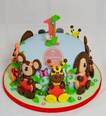 jungle animals 1st birthday cake cake by strawberry lane cake
