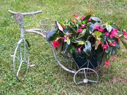 Clay Pot Garden Art - wrought iron trike u0026 2 circle planters claypot holder plant stand