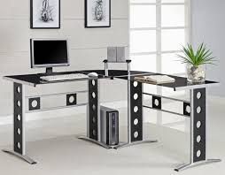 Metal Office Desks Interior Modern L Shape Metal Office Desks With Glasses