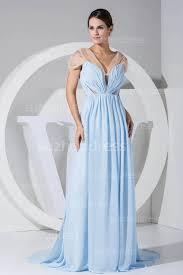 Light Blue Chiffon Dress Light Blue Prom Dresses Short Sleeve Pleats Split Front Sweep