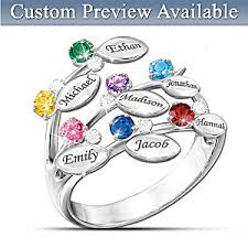 rings with birthstones and names our family of personalized birthstone ring