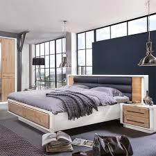Schlafzimmer Bett Metall Schlafzimmer Bett Vronjic In Weiß Eiche Bianco Wohnen De