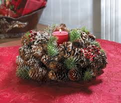 frosted pine cone wreath candle holder from koehlerhomedecor com