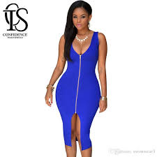 brand new 2016 women royal blue zip front high split deep v neck