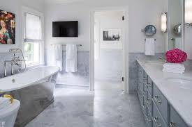 blue and gray master bathroom with cast iron tub contemporary