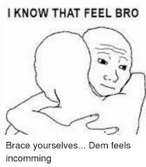 I Know That Feel Bro Meme - i know that feel bro brace yourselves dem feels incomming meme on