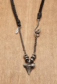 mens leather necklace chains images Lyst forever 21 men ettika shark tooth genuine leather necklace jpeg