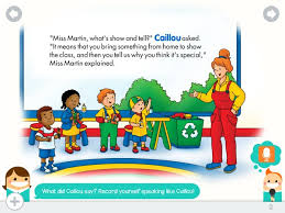 caillou show offers rich reading experience