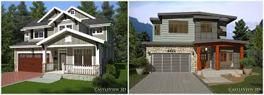 one craftsman style house plans two 3d renderings of a house one craftsman and one modern