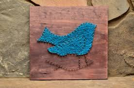 Blue Bird Home Decor Wolf String Art Wildlife Art Wildlife Decor Rustic Wood