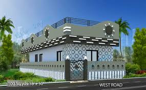 Home Design 50 Sq Ft by Way2nirman 100 Sq Yds 18x50 Sq Ft West Face House 1bhk Elevation